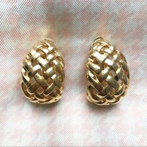 Vintage Givenchy Gold Basketweave Clip Earrings